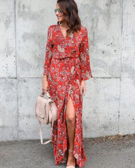 Boho Long Sleeve Split Tie Maxi Dresses