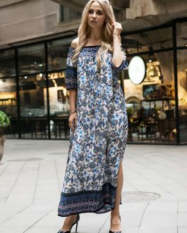 Boho Off Shoulder Split Maxi Dresses
