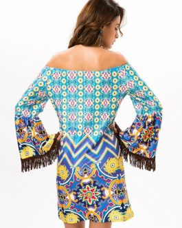 Boho Off The Shoulder Long Sleeve Fringe Dresses