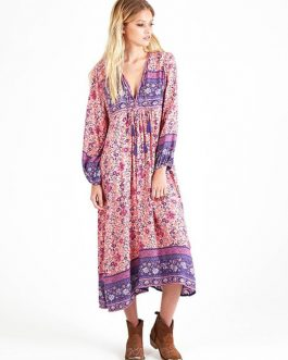 Boho Tassel V Neck Long Sleeve Ethnic Floral Dresses