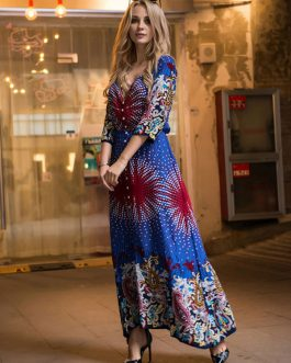 Boho V Neck Button Maxi Dresses
