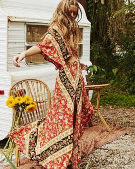 Boho V Neck Split Backless Maxi Dresses
