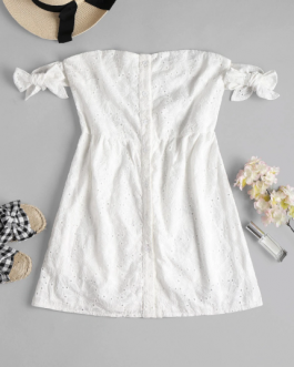 Button Up Knotted Mini Dress