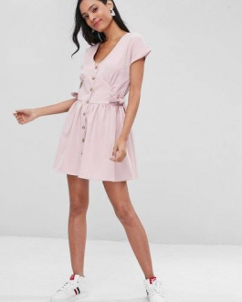 Button Up Mini Knotted Dress