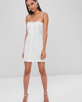 Button Up Striped Mini A Line Dress