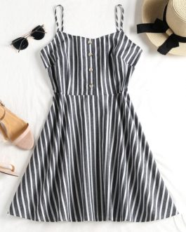 Buttoned Striped Cami Dress – Mist Blue S