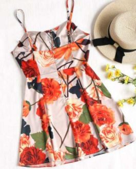 Cami Lace Up Floral Mini Dress