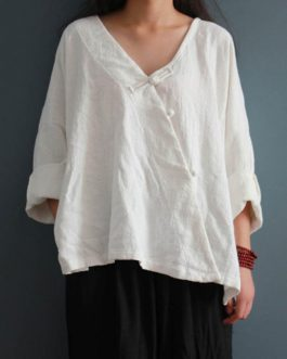 Casual Long Sleeve V-neck Solid Asymmetric Blouses