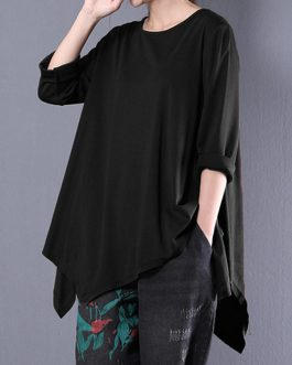 Casual Loose Long Sleeve Asymmetric Blouse