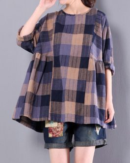 Casual Loose Plaid Long Sleeve Blouse