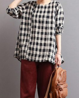 Casual Loose Plaid Long Sleeve Blouses