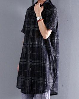 Casual Short Sleeve Shirt Plaid Blouse