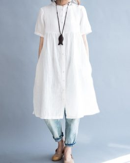 Casual Stand Collar Pleated Long Shirts