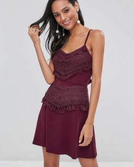 Crochet Overlay Tie Back Mini Sakter Dress
