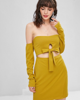 Cut Out Off Shoulder Long Sleeve Dress