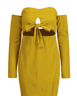 Cut Out Off Shoulder Long Sleeve Dress