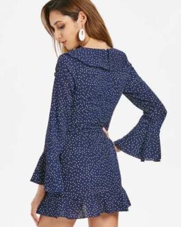 Cut Out Ruffles Dots Dress
