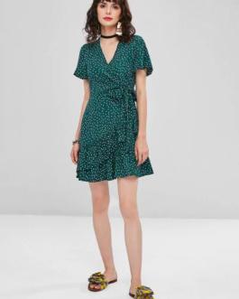 Dotted Ruffles Mini Dress
