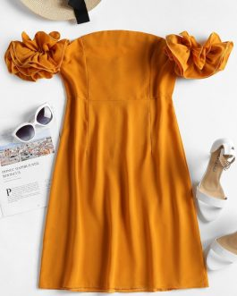 Dramatic Ruffle Sleeve Off The Shoulder Dress
