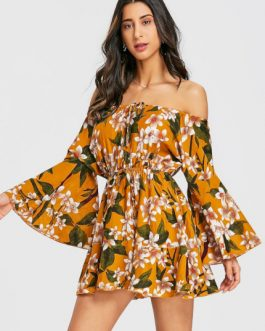 Drawstring Off Shoulder Mini Dress
