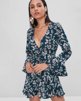 Drawstring Ruffles Floral Dress