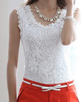 Elegant Floral Crochet Lace Sleeveless Tank Tops