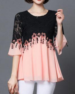 Elegant Lace Patchwork Half Sleeve Blouse