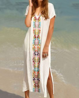 Embroidered V Neck High Slit Short Sleeve Long Boho Dresses