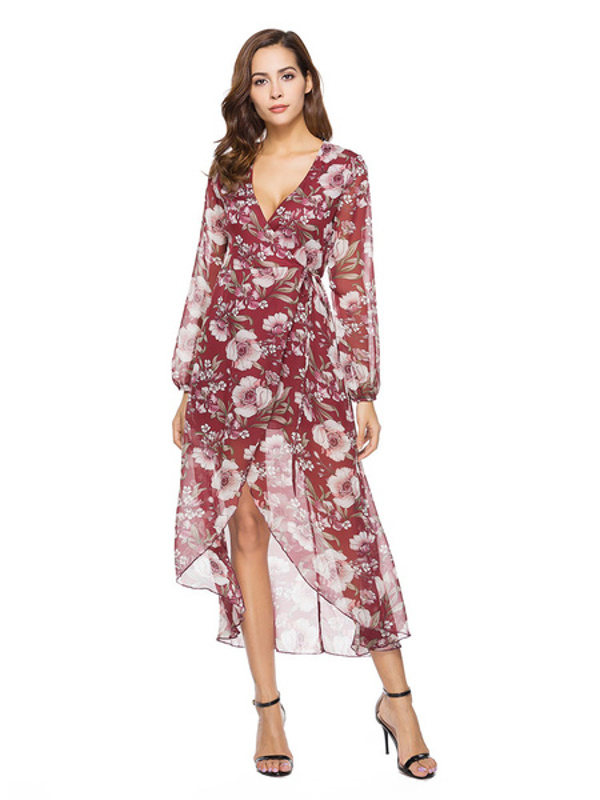908f4abbca4ea Floral Burgundy V Neck Long Sleeve High Low Maxi Dresses - Power Day ...