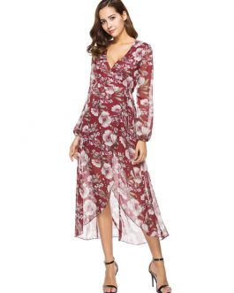 Floral Burgundy V Neck Long Sleeve High Low Maxi Dresses