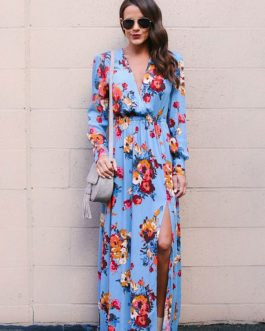 Floral Long Sleeve Tea Split Tie Waist Maxi Dresses