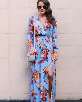 Floral Maxi Long Sleeve Tea Split Tie Waist Wrap Dress