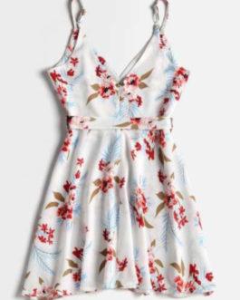 Floral Print Belted Surplice Skater Dress
