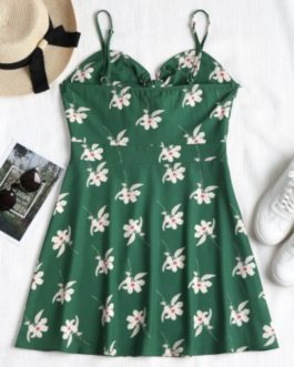 Floral Print Knotted Cami Dress