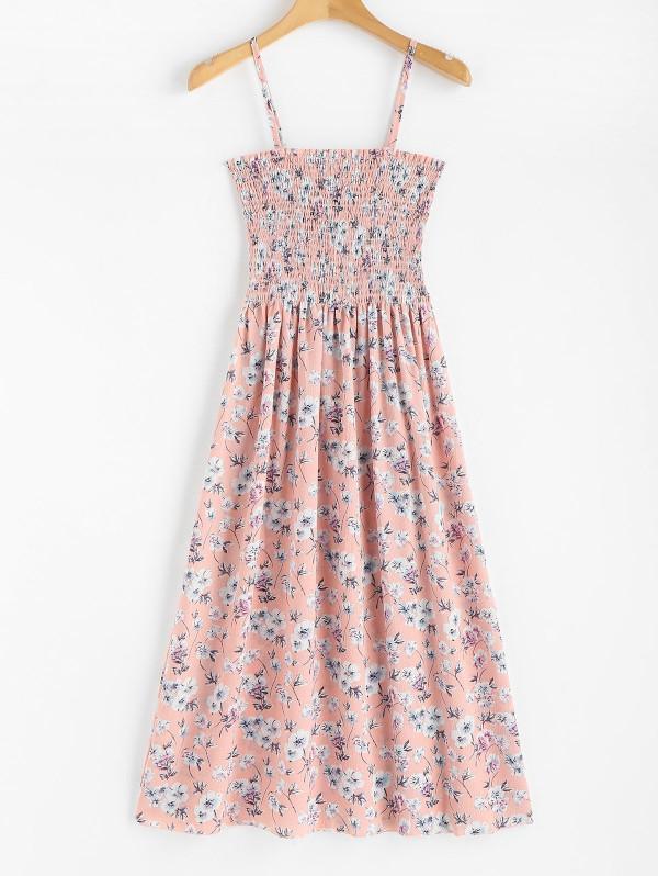 d4ba0dffd577 Floral Print Smocked Cami Midi Dress - Power Day Sale