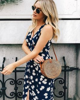Floral V Neck Split Sleeveless Long Maxi Dresses
