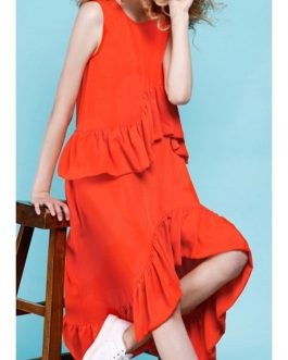 Frilled Asymmetrical Midi Dresses