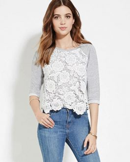 Half Sleeve Lace Patchwork Ruffled T-shirt