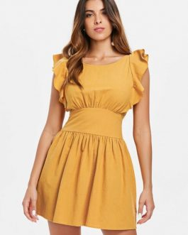Knotted Back Ruffles Dresses