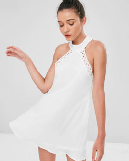 Knotted Crochet Trim Mini Dress