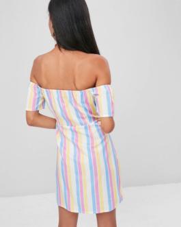 Knotted Stripes Off Shoulder Dress
