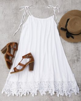 Lace Trim Trapeze Sundress Dresses