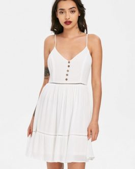 Ladder Trim Smock Slip Dresses