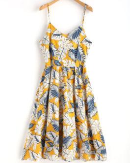 Leaf Print Tie Back Cami Midi Dress