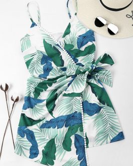 Leaves Print Overlap Dress – Light Sea Green S