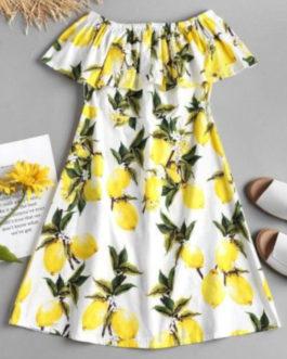 Lemon Ruffle Off The Shoulder Midi Dress