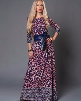 Leopard Three Quarter Sleeve Long Party Maxi Dresses