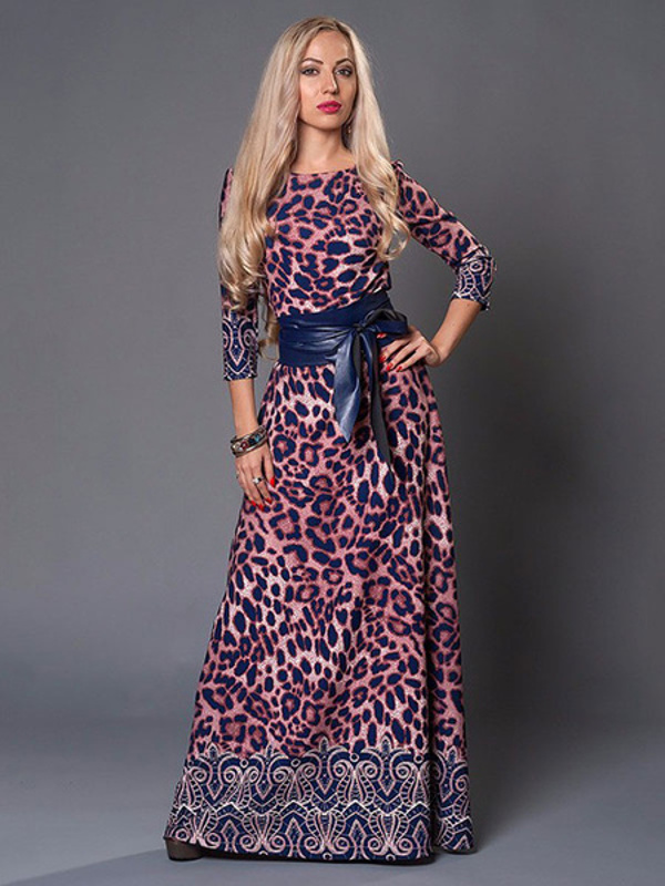 Leopard Three Quarter Sleeve Long Party Maxi Dresses - Power Day Sale