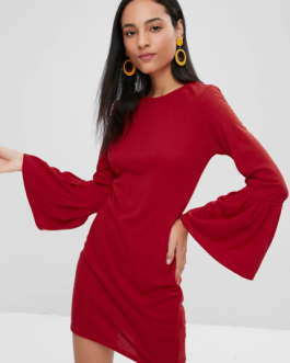 Long Bell Sleeve Mini Bodycon Dress