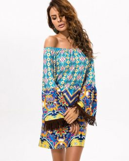 Long Sleeve Fringe Artwork Printed Dress